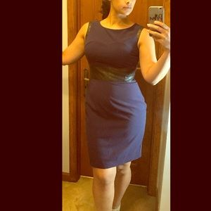 Worthington Sleeveless Navy Blue Business Dress